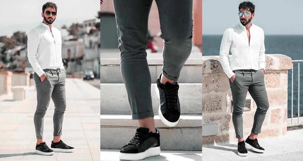 Come abbinare l'abito classico alle sneakers con rialzo