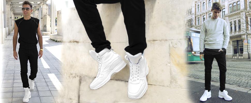 Tendenze moda scarpe  sneakers rialzate bianche per lui e per lei ... 13d6c09ec36