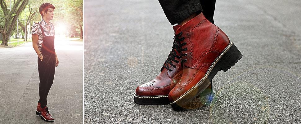 bordeaux stivali rialzati