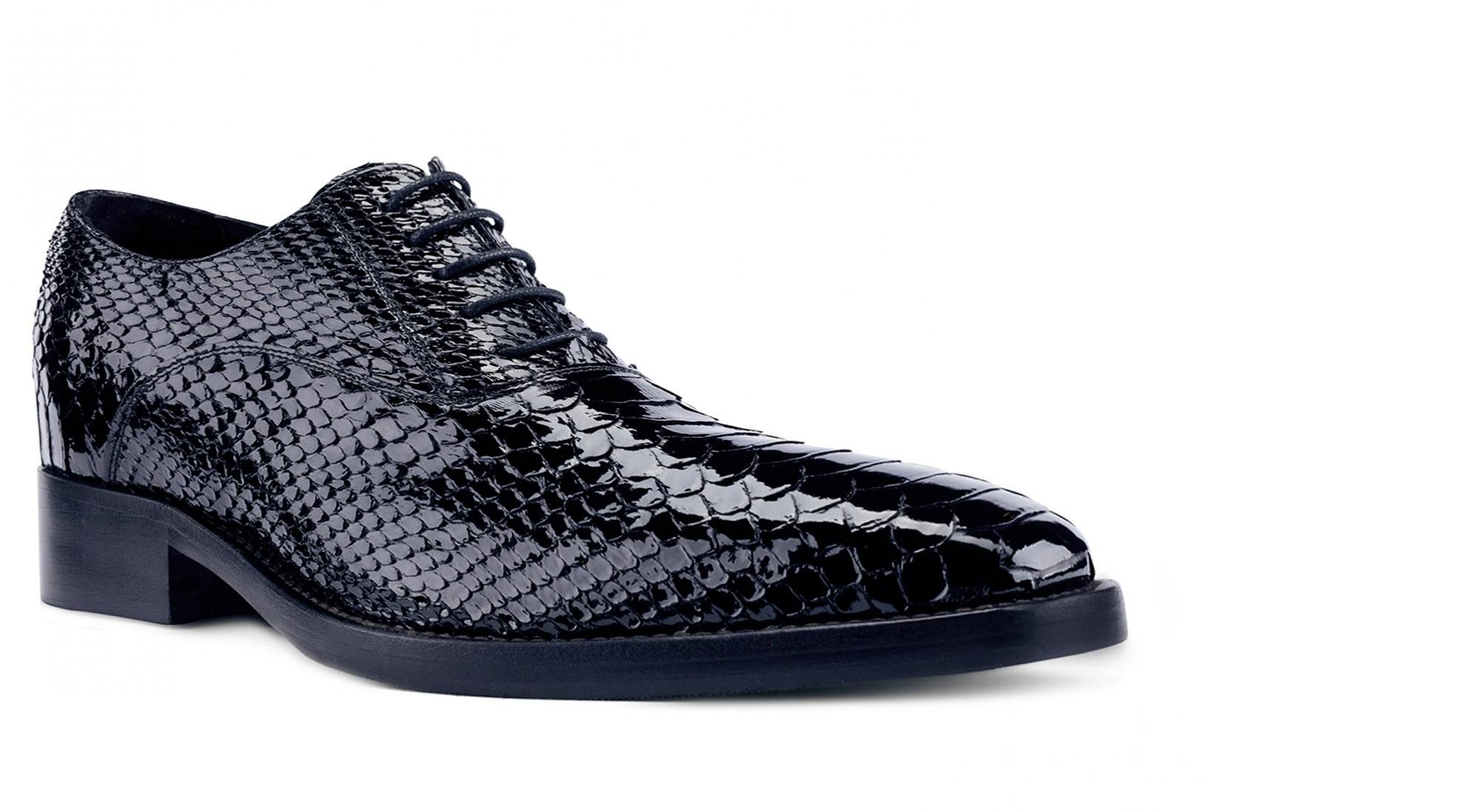 scarpe con rialzo in pelle esotica